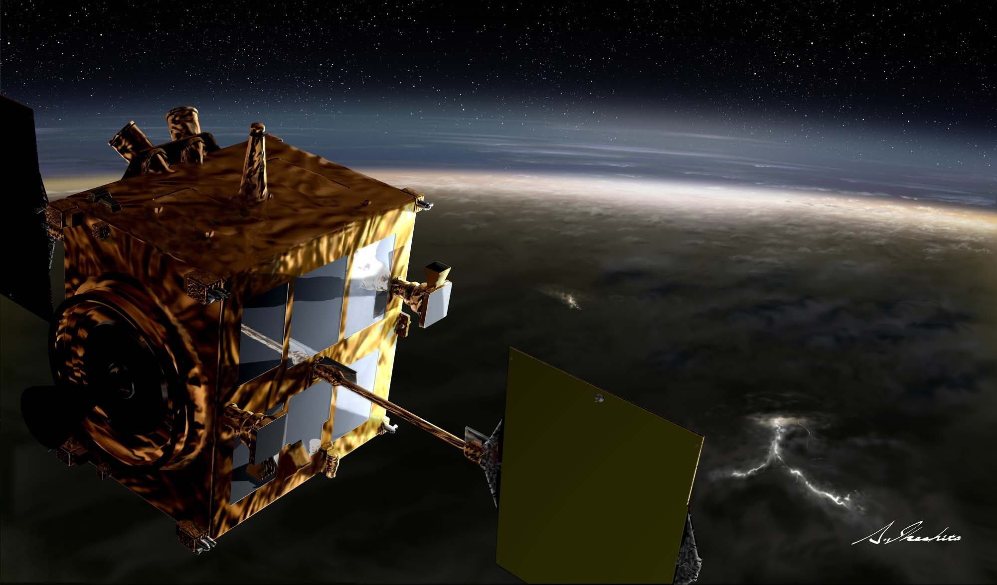 An artist rendering of the Akatsuki spacecraft over Venus. Image Credit: JAXA