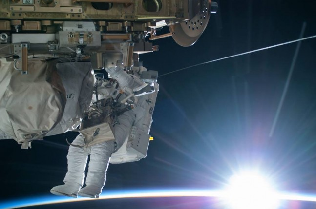 Terry Virts Barry Wilmore International Space Station spacewalk EVA extra-vehicular activity NASA photo posted on SpaceFlight Insider