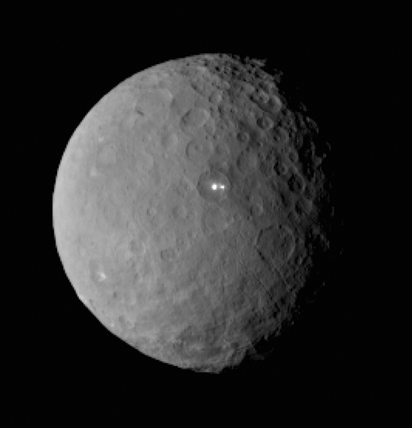 Ceres bright spot as seen on Spaceflight Insider