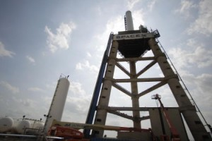 The SpaceX test tripod. Photo Credit: Karen Warren/Houston Chronicle.