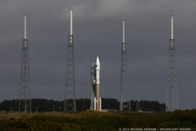AtlasV rocket sits on the pad as seen on Spaceflight Insider