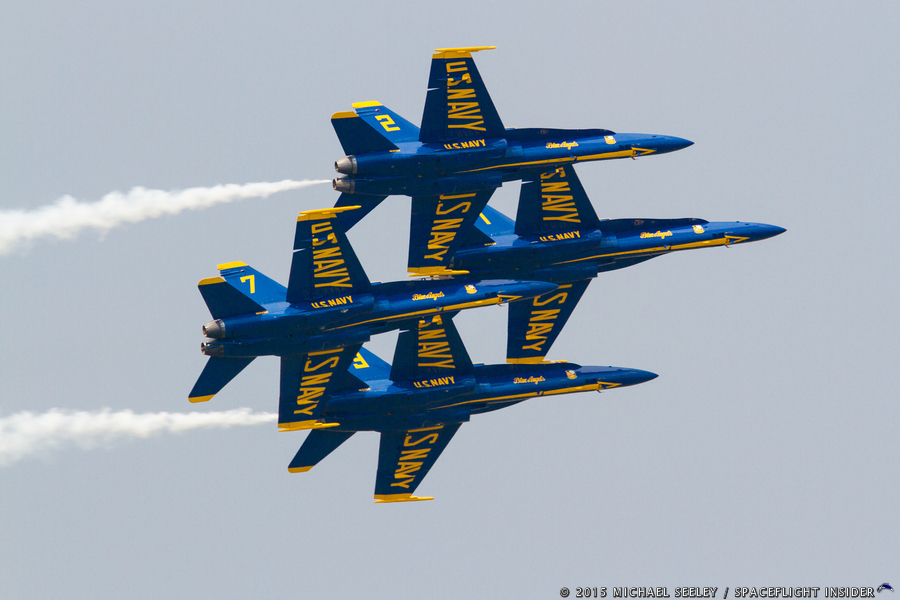 The U.S. Navy Blue Angel Demonstration Team in their F/A-18 Hornets fly in a tight formation during rehearsals caried out on March 19, 2015. Photo Credit: Michael Seeley / SpaceFlight Insider