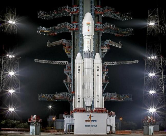 The GSLV Mk III booster at Satish Dhawan Space Centre, Andhra Pradesh, India.