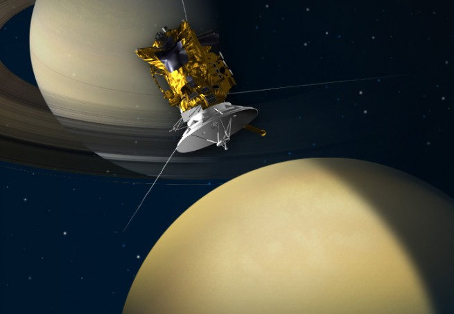 Cassini spacecraft in orbit above Saturn NASA image posted on SpaceFlight Insider