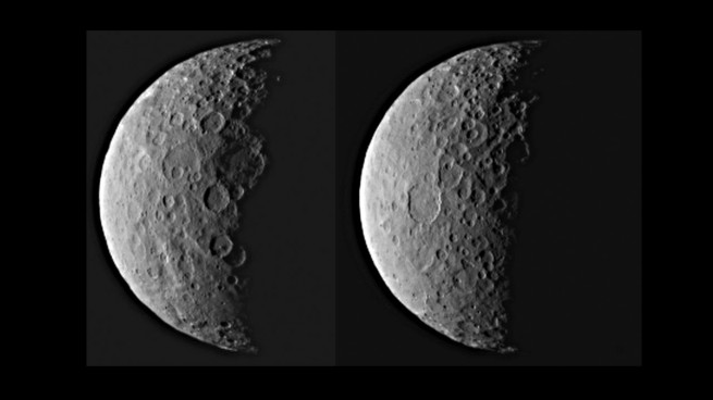Dwarf planet Ceres shown in half-shadow as seen on Spaceflight Insider