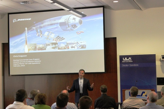 Chris Ferguson, a former astronaut, talks to engineers and technicians who will assemble the first Atlas V rockets to launch crews aboard Boeing's CST 100 to the International Space Station for NASA's Commercial Crew