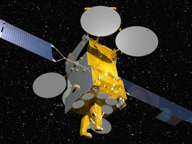 Illustration of the Express AM7 satellite as seen on Spaceflight Insider