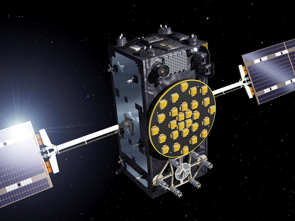 Artist's view of a Galileo Full Operational Capability satellite, with platforms manufactured by OHB in Bremen, Germany, and navigation payloads coming from Surrey Satellite Technology Ltd in Guildford, UK. The first two Galileo Full Operational Capability satellites (satellites 5-6) were launched together aboard a Soyuz rocket from Europe's Spaceport in French Guiana on 22 August 2014, joining the four Galileo satellites already in orbit. Some 22 FOC satellites are being manufactured. Image Credit: ESA / J. Huart