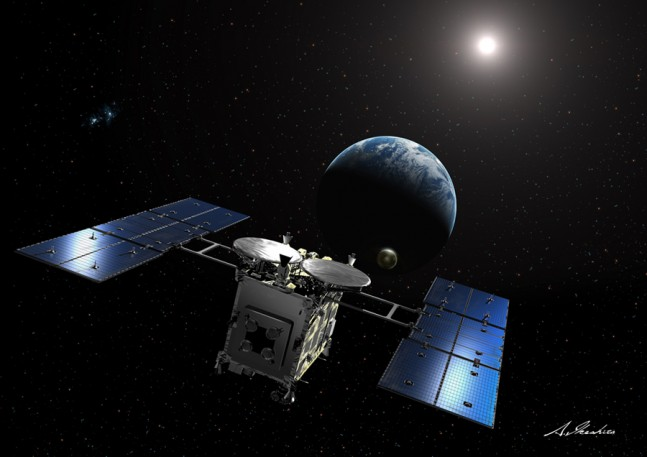 An artist's rendition of the Hayabusa 2 spacecraft coming from Earth. Image Credit: Akihiro Ikeshita