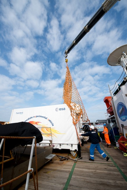 ESA's recovered IXV spaceplane arrived at the Port of Livorno in Italy on 26 March 2015 and will be taken to Turin for final analysis.