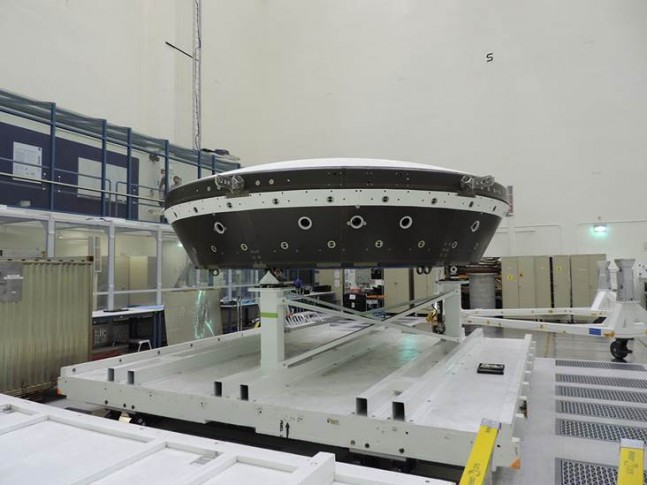 The main structural body of the second flight test vehicle in NASA's Low-Density Supersonic Decelerator (LDSD) project is seen during its assembly in a cleanroom at NASA's Jet Propulsion Laboratory.   Photo Cedit: NASA/JPL-Caltech