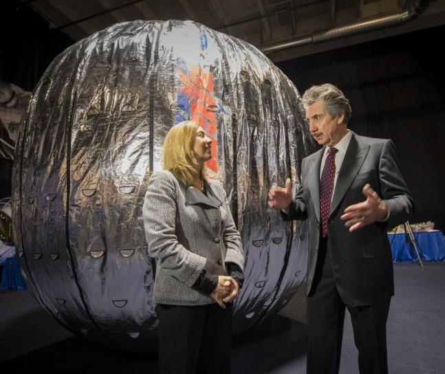 NASA Deputy Administrator Lori Garver and Robert Bigelow under the BEAM on Jan. 16, 2013 as seen on Spaceflight Insider