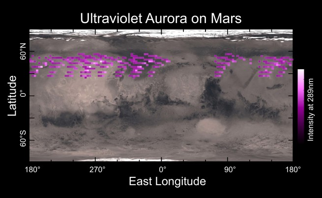 Martian auroral map as seen on Spaceflight Insider
