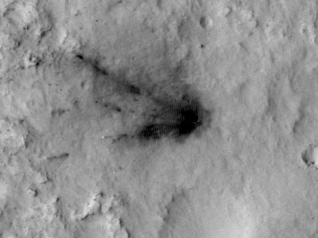 NASA Mars Science Laboratory rover Curiosity landing marks on surface of Red Planet image credit NASA Mars Reconnaissance Orbiter MRO posted on SpaceFlight Insider