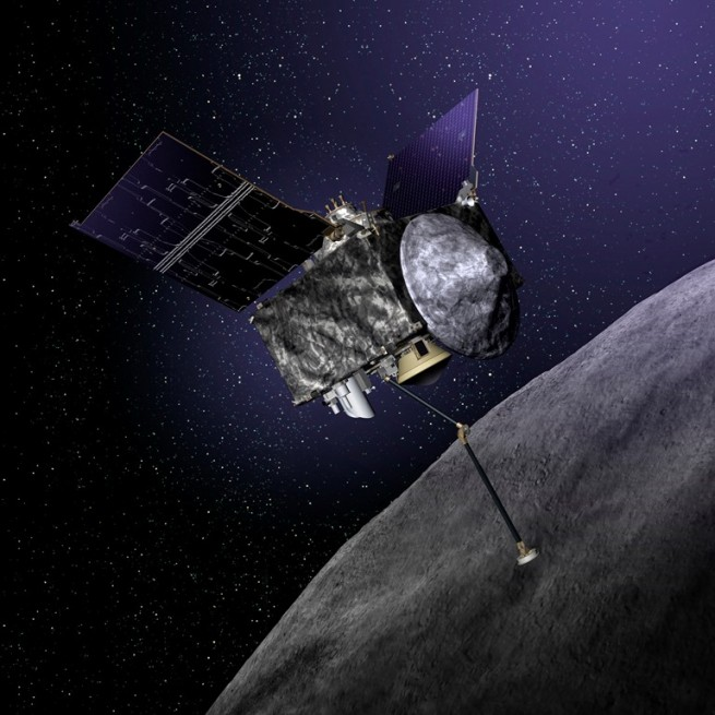 Illustration of OSIRIS-REx spacecraft at Bennu Lockheed Martin image posted on SpaceFlight Insider