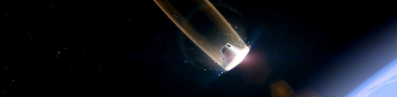 Orion crewed spacecraft plunging through earth's atmosphere protected by its Avcoat heat shield NASA image posted on SpaceFlight Insider