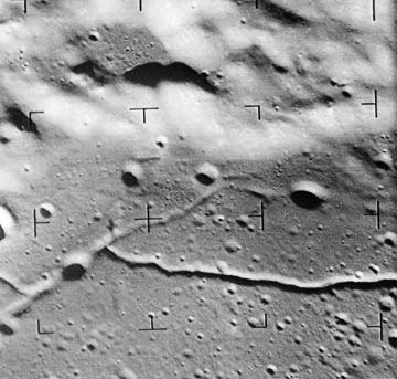Ranger 9 photo of rilles in the Alphonsus crater.