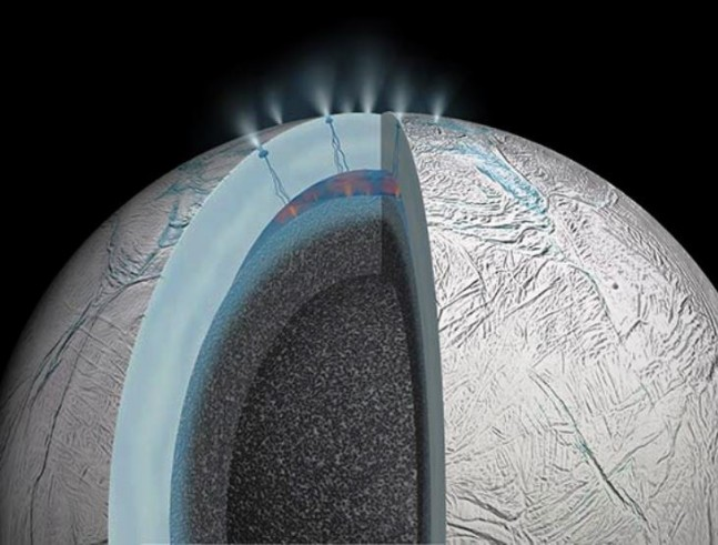Saturnian moon Enceladus cutaway image provided by NASA's Jet Propulsion Laboratory
