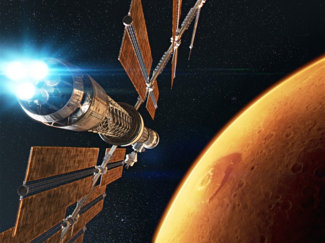 Journey To Space spacecraft arrives in orbit above Mars. Image Credit: K2 Films / Giant Screen Films