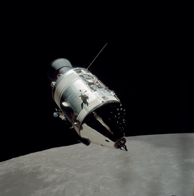 Apollo Command and Service Module in orbit above the Moon NASA photo posted on SpaceFlight Insider