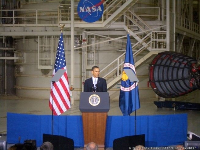 President Barack Obama NASA Kennedy Space Center photo credit Jason Rhian SpaceFlight Insider