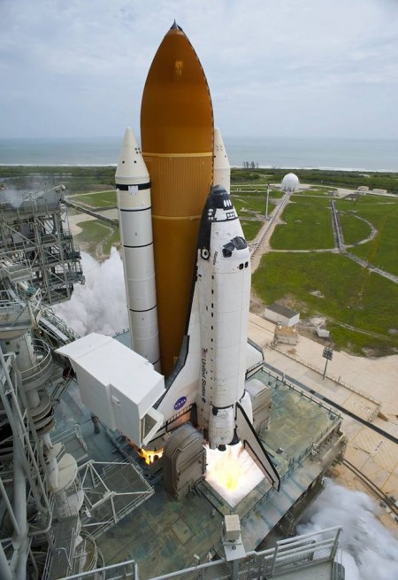 space shuttle lifts of from NASA Kennedy Space Center Launch Complex 39A. NASA photo posted on SpaceFlight Insider