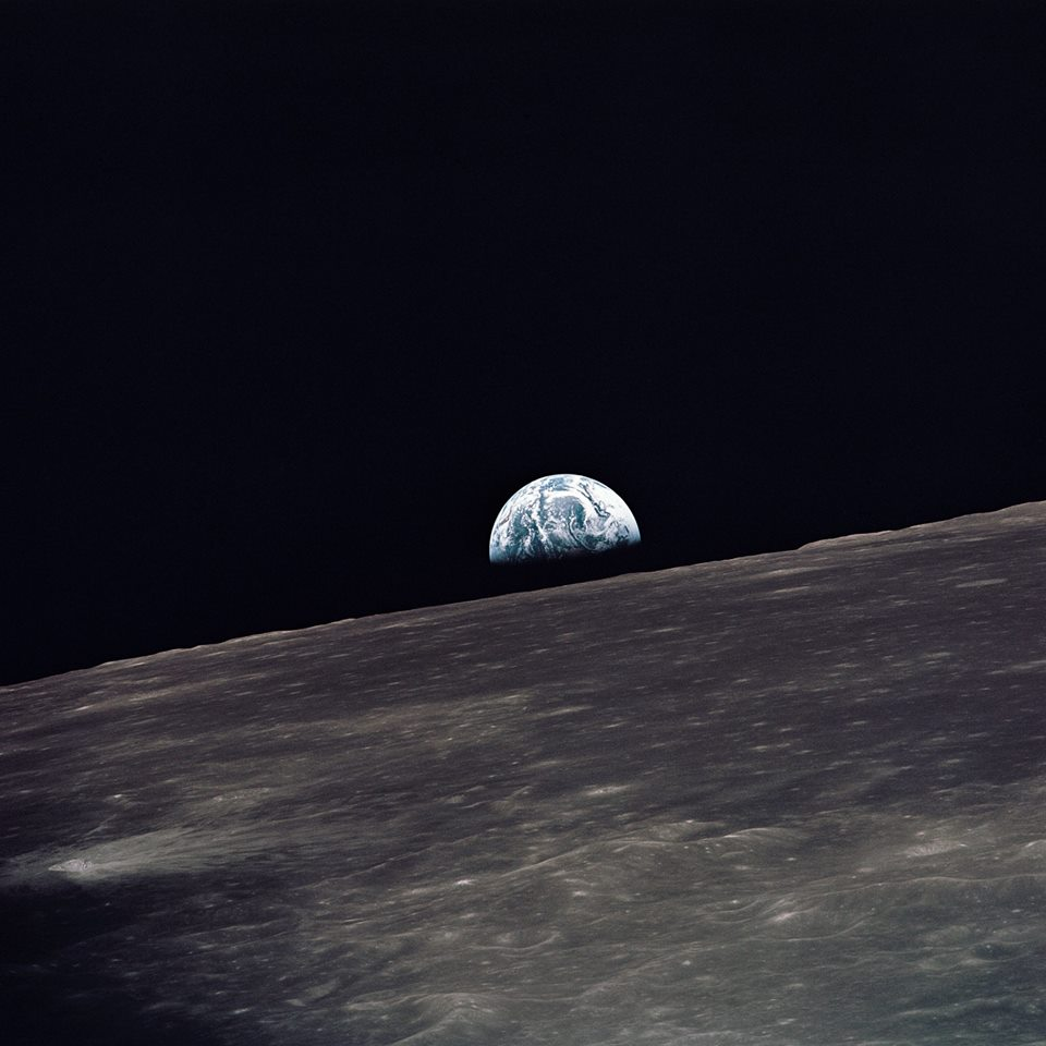 Earthrise Apollo 8 above the surface of the Moon. NASA photo posted on SpaceFlight Insider