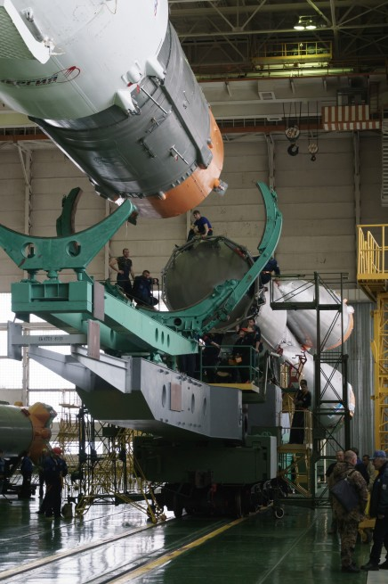 Russian Soyuz booster being assembled at the Baikonur Cosmodrone in Kazakhstan Bill Ingalls NASA photo posted on SpaceFlight Insider