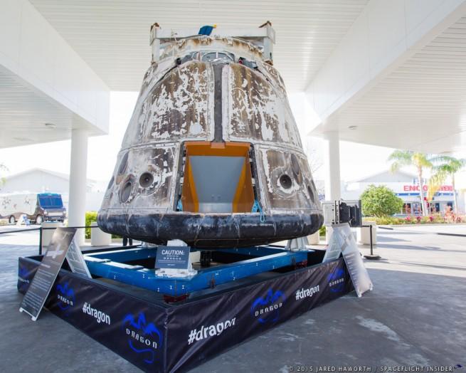 SpaceX Dragon C2+ Capsule on display at KSC photo credit Jared Haworth SpaceFlight Insider