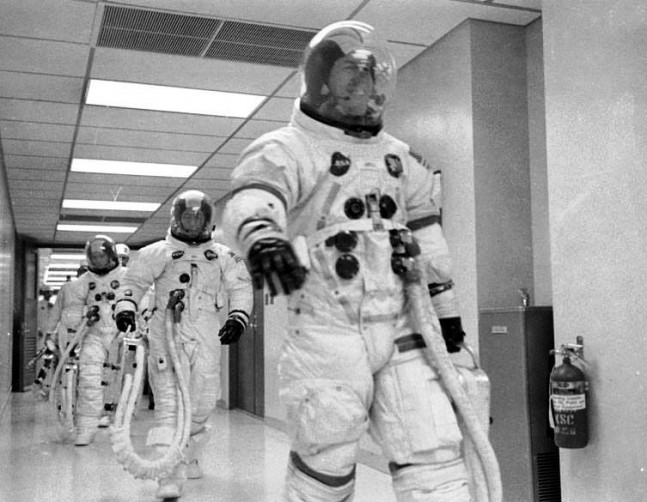 Apollo 13 commander Jim Lovell Lunar Module Pilot Fred haise Command Module Pilot Jack Swigert NASA Kennedy Space Center NASA photo posted on SpaceFlight Insider