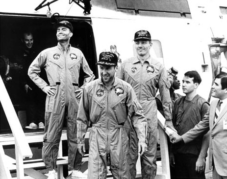 Apollo 13 crew safely home.