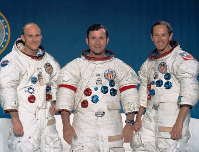 Ken Mattingly, John Young, and Charlie Duke – the crew of Apollo 16. Photo Credit: NASA posted on SpaceFlight Insider