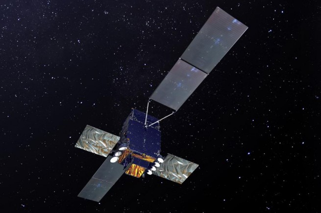 Artist's depiction of Sicral 2 satellite in orbit above Earth Thales image posted on SpaceFlight Insider