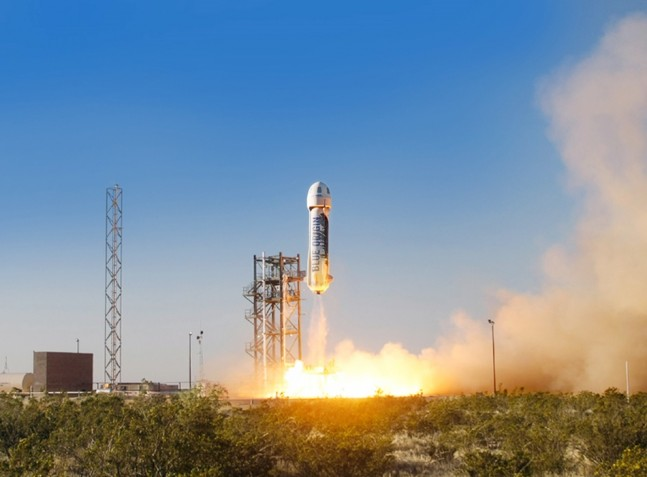 Blue-Origin-New-Shepard-test-flight-spacecraft-rocket-launch-April-29-2015-photo-credit-Blue-Origin-posted-on-SpaceFlight-Insider