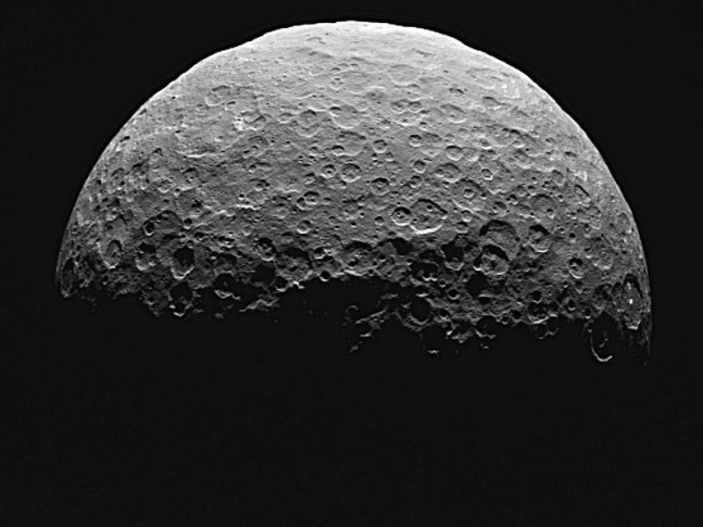 This image shows the northern terrain on the sunlit side of dwarf planet Ceres as seen by NASA's Dawn spacecraft on April 14 and 15, 2015. Image Credit: NASA/JPL-Caltech/UCLA/MPS/DLR/IDA