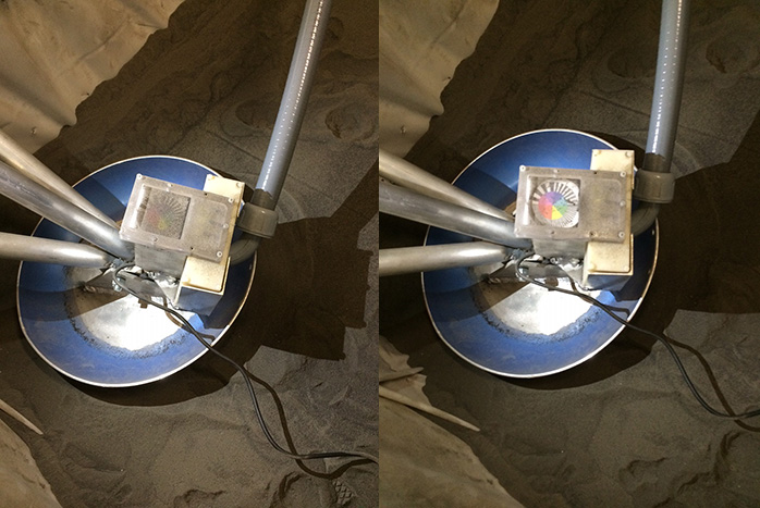 Closeup of the EDS unit mounted to a simulated lander leg. The photo on the left is before the unit was activated and the photo on the right was taken after the unit had repelled most of the dust.  Photo Credit: Jim Sharkey / SpaceFlight Insider