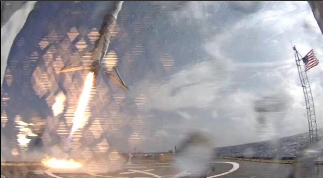 Elon Musk Tweet of Falcon 9 v1.1 first stage landing on Just Read The Instructions Drone Ship during CRS SpX 6 mission photo credit SpaceX Elon Musk