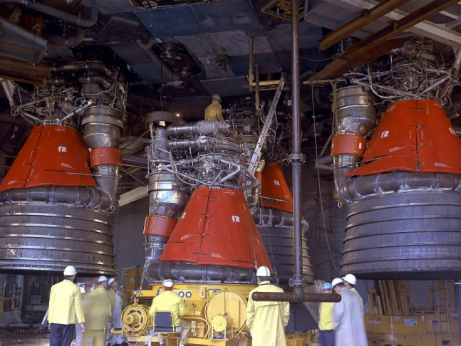 F-1 engines being installed on the Saturn V. Photo Credit: NASA