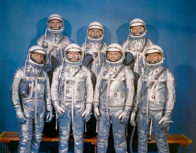 Mercury 7 astronauts spacesuit John Glenn Gus Grissom Deke Slayton Wally Schirra Alan Shepard Scott Carpenter Gordon Cooper NASA photo posted on SpaceFlight Insider