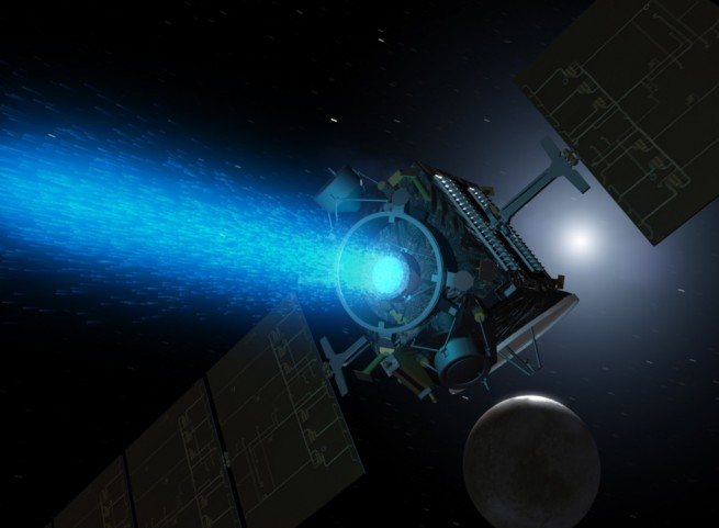 Artist's concept of Dawn above Ceres around the time it was captured into orbit by the dwarf planet in early March. Image Credit: NASA / JPL