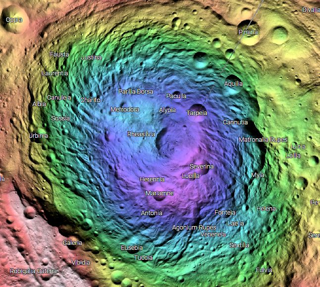 A Color Hillshade view of Vesta's South Pole provides a clear view of topography and makes it easy to pick out the giant 500-km diameter Rheasilvia crater. Image Credit: NASA
