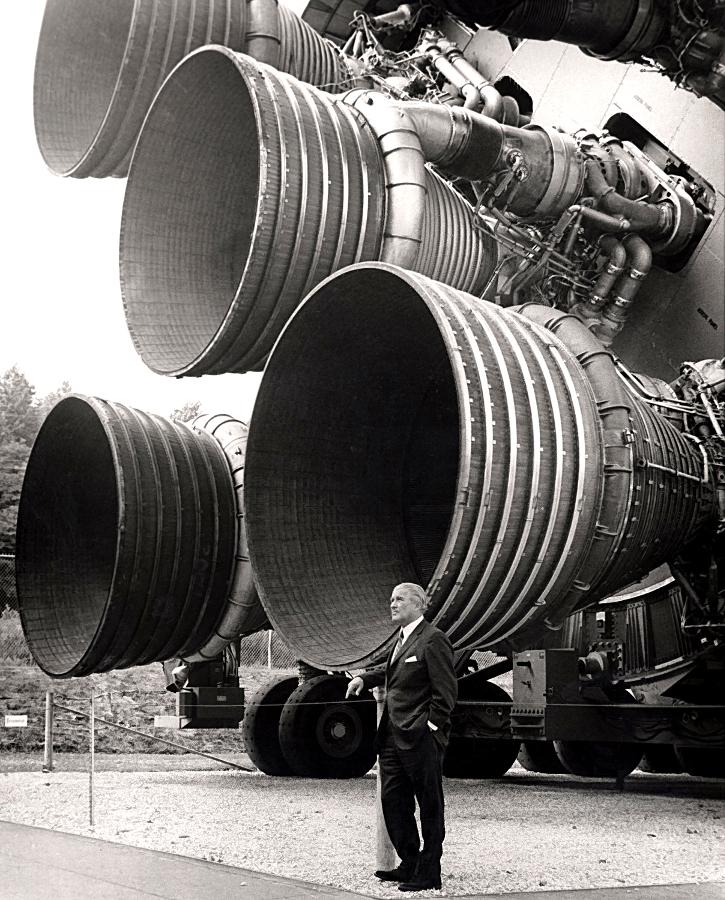 S-IC engines and Wernher von Braun. Photo Credit: NASA