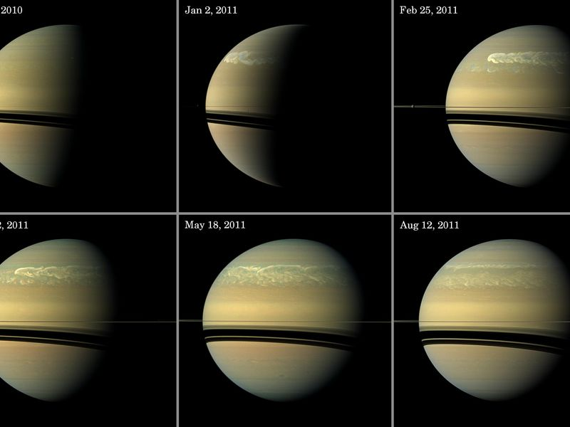 This series of images from NASA's Cassini spacecraft shows the development of the largest storm seen on the planet since 1990. Image Credit: NASA/JPL-Caltech/Space Science Institute posted on SpaceFlight Insider