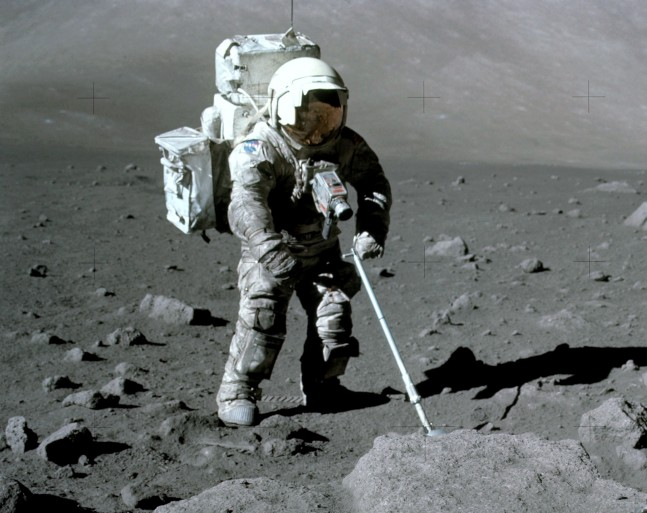 Astronaut Harrison Schmitt during the second Apollo 17 moon walk. Lunar dust on a spacesuit can cause significant wear and tear and make it difficult to regulate temperatures inside the suit because the dust absorbs more heat than the suit's reflective outer layer. 