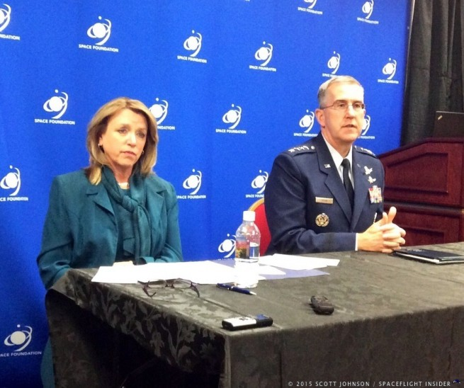 Secretary of the Air Force Deborah Lee James, and General John E. Hyten, answer the media's questions. Photo Credit: Scott Johnson / SpaceFlight Insider