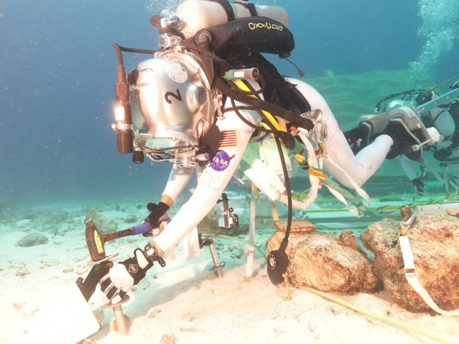 NASA astronaut Jeanette Epps during an undersea spacewalk to test EVA tools on July 22, 2014. Photo Credit: NASA