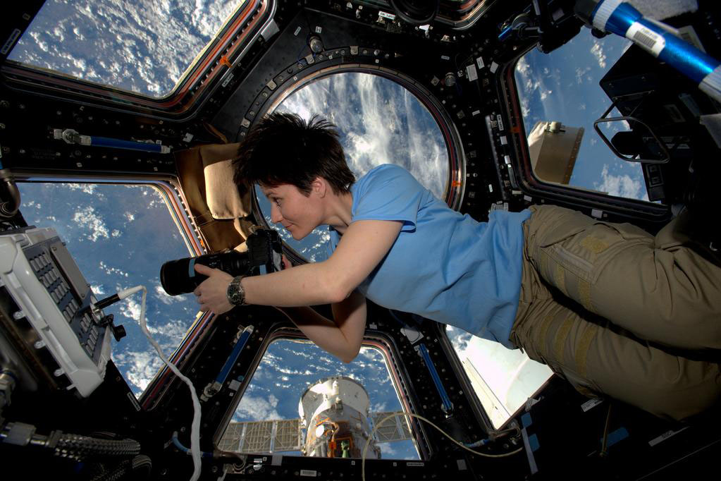 Italian Space Agency astronaut Samantha Cristoforetti cupola International Space Station NASA  photo posted on SpaceFlight Insider
