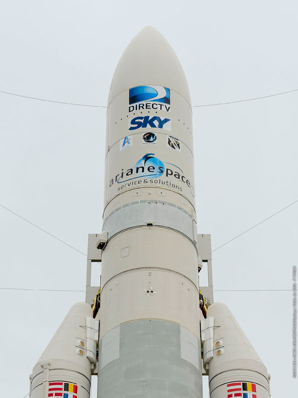 Ariane 5 is shown in the Spaceport's ELA-3 launch zone prior to its liftoff on Flight VA223 with the DirecTV-15 and SKY México-1 satellites