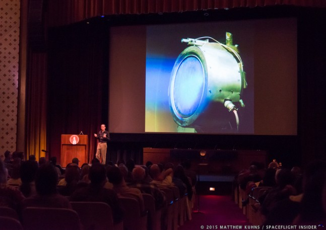 Presenter at NASA's Jet Propulsion Laboratory discusses the Ion Drive on the Dawn spacecraft photo credit Matthew Kuhns SpaceFlight Insider