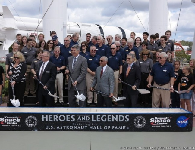 "Officials from NASA, Delaware North and the U.S. Astronaut Hall of Fame conducted a ceremonial groundbreaking on May 29, 2015, for the new ""Heroes and Legends"" center at the Kennedy Space Center Visitor Complex. Photo Credit: Mark Usciak / SpaceFlight Insider"